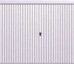 Brama podwieszana przesuwna wypełniona blachą T-10, układ wypełnienia pionowy, brama zsymetrycznym podziałem skrzydeł skal