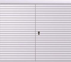 Brama przesuwna podwieszana dwuskrzydłowa wypełniona blachą T-10, układ wypełnienia poziomy skal